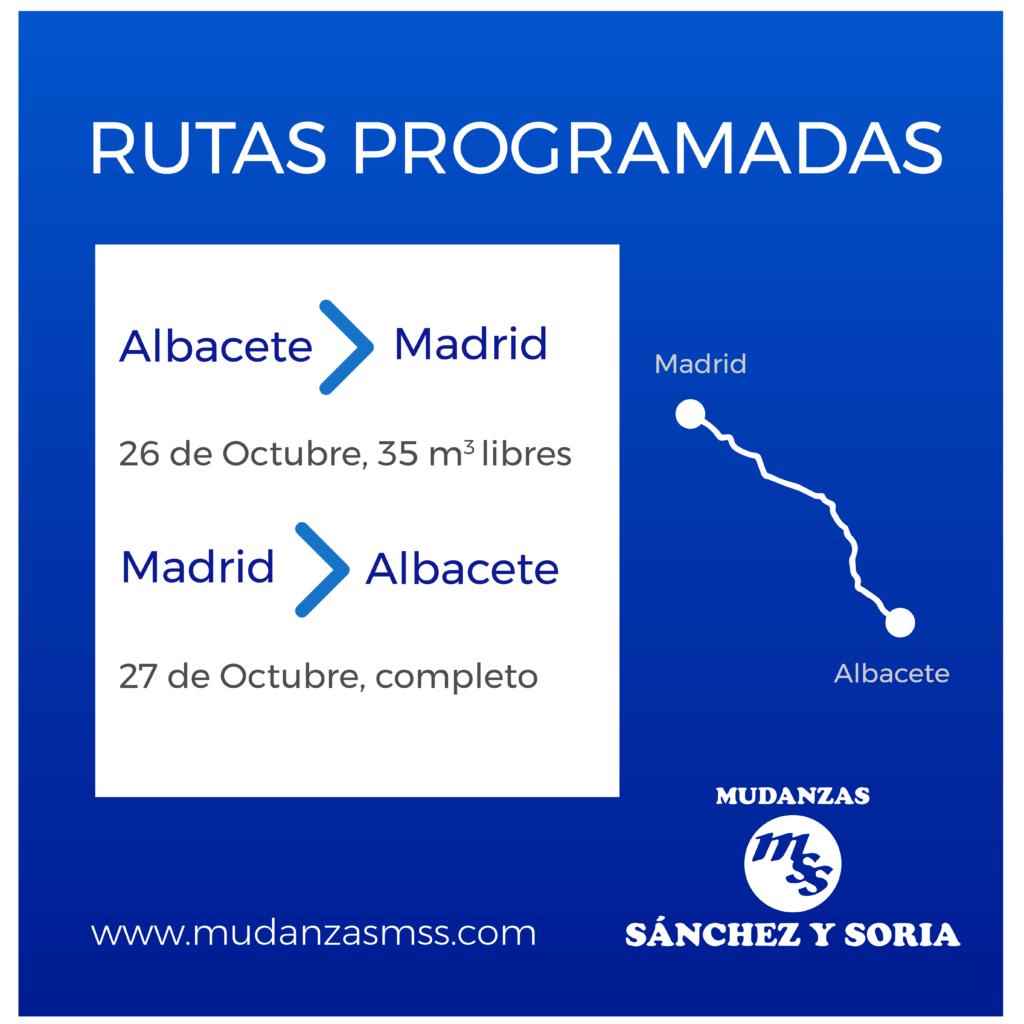 rutas programadas 26 y 27 octubre